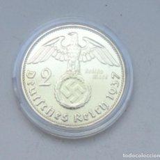 Monedas antiguas de Europa: ¡¡¡ 2 REICHMARK DE PLATA DEL III REICH DE 1937 BAÑADA EN ORO PURO DE 24 KILATES !!! . Lote 133919810