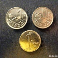 Monedas antiguas de Europa: BELGICA - 1 FRANCO 1989-1991-1997 LOTE 3 MONEDAS MBC. Lote 134110922