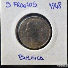 Monedas antiguas de Europa: BELGICA - 5 FRANCOS 1948 1986 BC. Lote 134111542