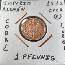 Monedas antiguas de Europa: MONEDA 1 PFENNIG IMPERIO ALEMÁN 1912 CECA E MBC ENCARTONADA. Lote 134366442