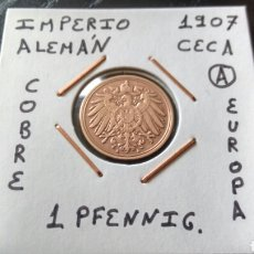 Monedas antiguas de Europa: MONEDA 1 PFENNIG IMPERIO ALEMÁN 1907 CECA A MBC ENCARTONADA. Lote 134366801