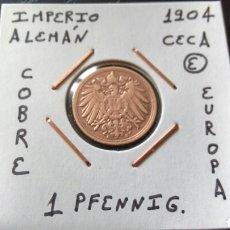 Monedas antiguas de Europa: MONEDA 1 PFENNIG IMPERIO ALEMÁN 1904 CECA E MBC ENCARTONADA. Lote 134367238