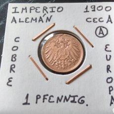 Monedas antiguas de Europa: MONEDA 1 PFENNIG IMPERIO ALEMÁN 1900 CECA A MBC ENCARTONADA. Lote 134367375