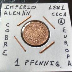 Monedas antiguas de Europa: MONEDA 1 PFENNIG IMPERIO ALEMÁN 1891 CECA A MBC ENCARTONADA. Lote 134367670