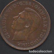 Monedas antiguas de Europa: REINO UNIDO, 1 PENIQUE 1947, GEORGE VI, 27 MM.. Lote 134367790