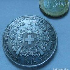 Monedas antiguas de Europa: MONEDA DE PLATA DE 5 FRANCOS DE SUIZA CANTON DE ZURICH AÑO 1872. Lote 134905094