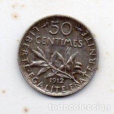 Monedas antiguas de Europa: FRANCIA. 50 CÉNTIMOS. AÑO 1912. PLATA. Lote 135634423