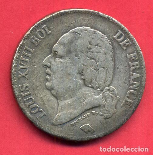 MONEDA PLATA , FRANCIA , 5 FRANCOS FRANCESES 1824 W , LUIS XVIII LOUIS XVIII , MBC , ORIGINAL , B21 (Numismática - Extranjeras - Europa)