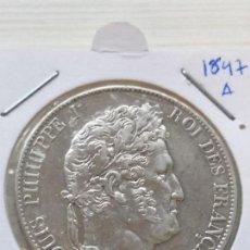 Monedas antiguas de Europa: RARA Y ESCASA MONEDA 5 FRANCS FRANCIA 1847 A EN EXCELENTE ESTADO PLATA. Lote 135765518