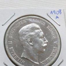 Monedas antiguas de Europa: RARA Y ESCASA MONEDA 5 MARKS PLATA IMPERIO ALÉMAN ESTADO PRUSIA 1908 A. Lote 135786546