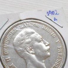 Monedas antiguas de Europa: RARA Y ESCASA MONEDA 5 MARKS PLATA IMPERIO ALÉMAN ESTADO PRUSIA 1902 A. Lote 135788346