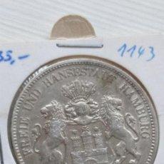 Monedas antiguas de Europa: RARA Y ESCASA MONEDA 5 MARKS PLATA IMPERIO ALÉMAN ESTADO HAMBURGO 1908 J. Lote 135789534