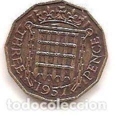 Monedas antiguas de Europa: INGLATERRA,3 PENCE 1957.. Lote 135947018