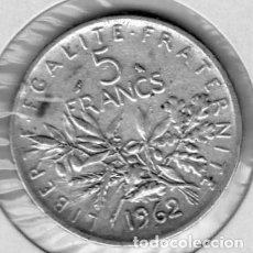 Monedas antiguas de Europa: FRANCIA 5 FRANCOS 1962, PLATA. Lote 136161590