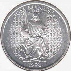 Monedas antiguas de Europa: PORTUGAL 1000 ESCUDOS PLATA 1998 D.MANUEL I S/C. Lote 269588488