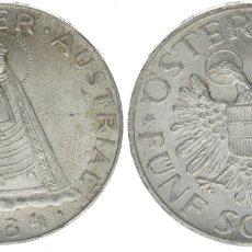 Monedas antiguas de Europa: AUSTRIA 5 SCHILLING (CHELINES) PLATA 1934 MADONNA DE MARIAZELL EBC ESCASA. Lote 137232745