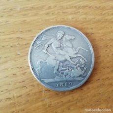 Monedas antiguas de Europa: REINO UNIDO. CORONA DE PLATA DE 1889. CROWN. Lote 138894446