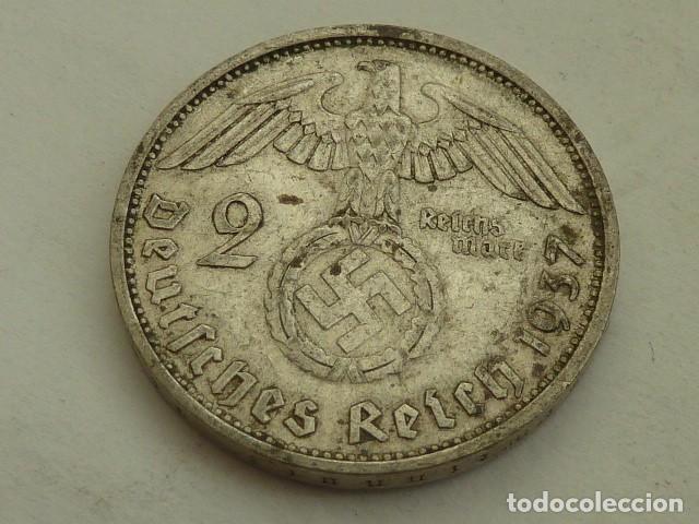 MONEDA DE PLATA 2 MARCOS 1937 CECA F, STUTTGART, ALEMANIA NAZI, MARISCAL PAUL VON HINDENBURG (Numismática - Extranjeras - Europa)