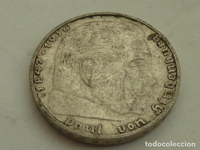 Monedas antiguas de Europa: MONEDA DE PLATA 2 MARCOS 1937 CECA F, STUTTGART, ALEMANIA NAZI, MARISCAL PAUL VON HINDENBURG - Foto 2 - 140207342