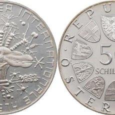 Monedas antiguas de Europa: AUSTRIA 50 SCHILLING (CHELINES) PLATA 1974 EXPOSICION FLORAL INTERNACIONAL DE VIENA PROOF. Lote 140526518