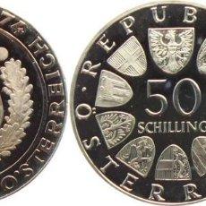 Monedas antiguas de Europa: AUSTRIA 50 SCHILLING (CHELINES) PLATA 1974 125 ANIV. GENDARMERIA PROOF. Lote 140530326