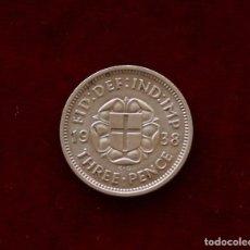 Monedas antiguas de Europa: 3 PENCE 1938 PLATA INGLATERRA. Lote 142270706