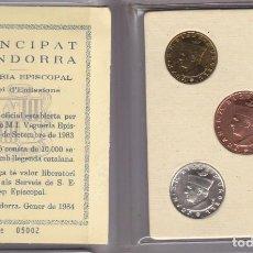 Monedas antiguas de Europa: CARTERA DEL PRINCIPAT D´ ANDORRA VEGUERIA EPISCOPAL AÑO 1984 LOTE 3 MONEDAS NUEVAS SIN USAR. Lote 142433126