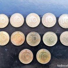 Monedas antiguas de Europa: ALEMANIA - LOTE 10 PFENNING - 12 MONEDAS. Lote 142670386