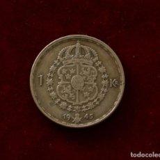 Monedas antiguas de Europa: 1 CORONA 1945 PLATA SUECIA. Lote 142728810