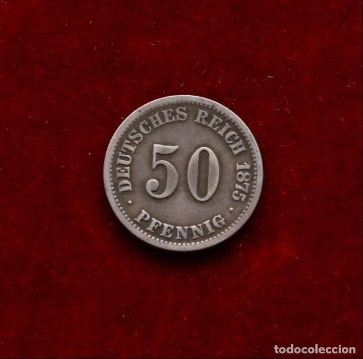 50 PFENNIG 1875 G PLATA ALEMANIA (Numismática - Extranjeras - Europa)