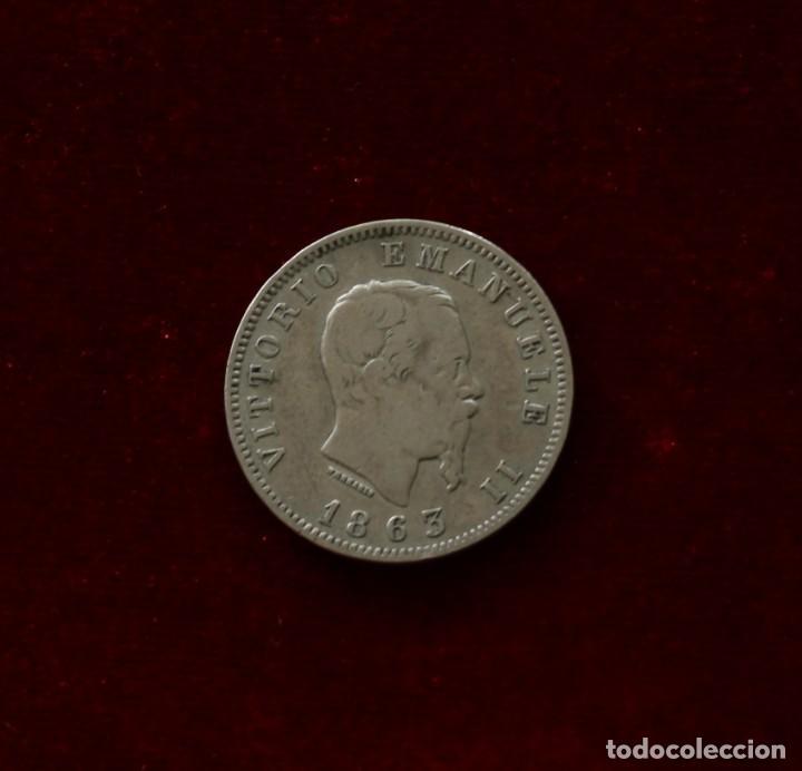 Monedas antiguas de Europa: 1 LIRA 1863 M PLATA ITALIA - Foto 2 - 142970762