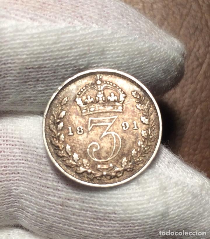 Monedas antiguas de Europa: edu8 – Gran Bretaña 3 pence 1891 – Reina Victoria - busto jubileo – calidad - Foto 2 - 143171054