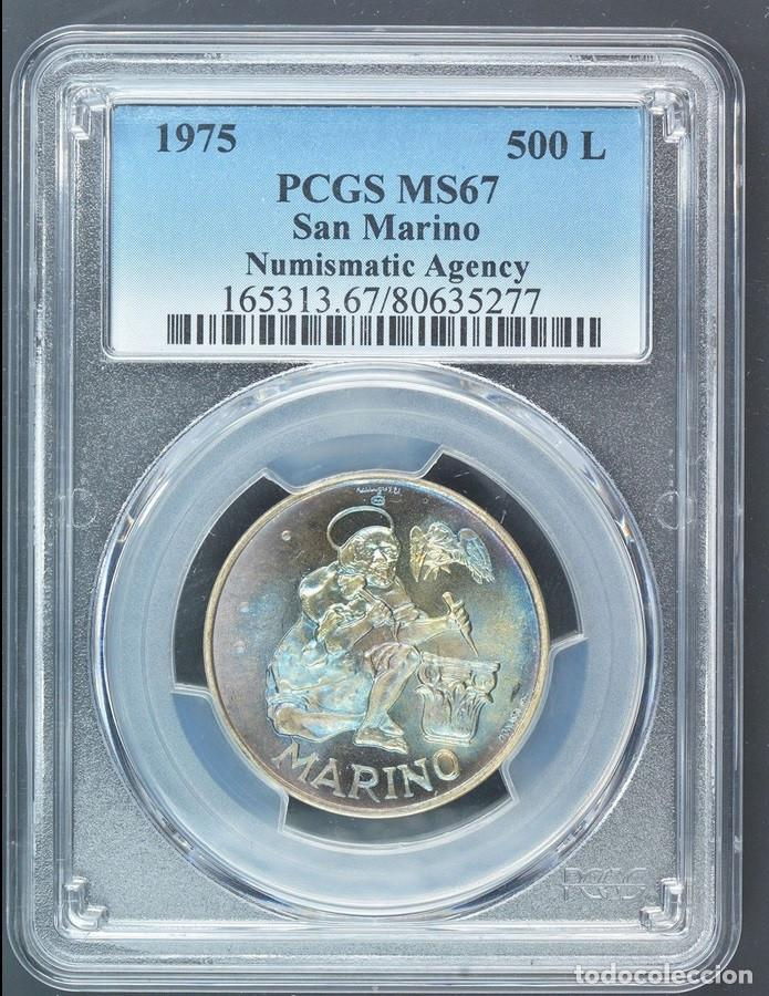 500 LIROT 1975 PCGS MS67 SAN MARINO NUMISMASTIC AGENCY ARCO IRIS DE COLORACIÓN AZUL (Numismática - Extranjeras - Europa)