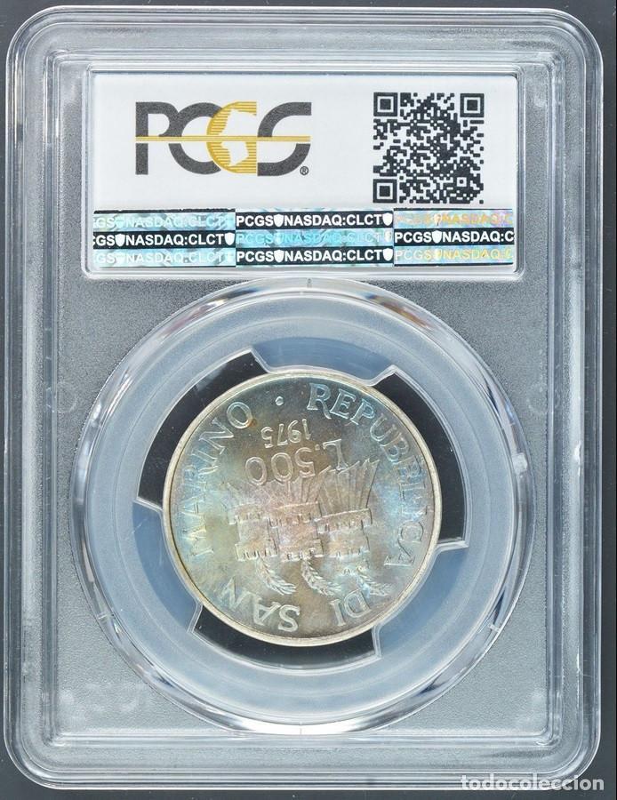 Monedas antiguas de Europa: 500 LIROT 1975 PCGS MS67 San Marino Numismastic Agency arco iris de coloración azul - Foto 2 - 143316806