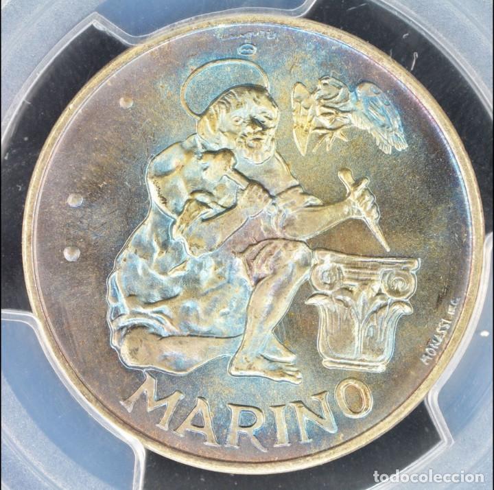 Monedas antiguas de Europa: 500 LIROT 1975 PCGS MS67 San Marino Numismastic Agency arco iris de coloración azul - Foto 3 - 143316806