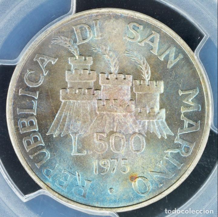 Monedas antiguas de Europa: 500 LIROT 1975 PCGS MS67 San Marino Numismastic Agency arco iris de coloración azul - Foto 4 - 143316806