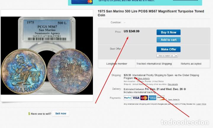 Monedas antiguas de Europa: 500 LIROT 1975 PCGS MS67 San Marino Numismastic Agency arco iris de coloración azul - Foto 5 - 143316806
