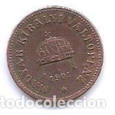 Monedas antiguas de Europa: HUNGRIA,2 FILLER 1901.. Lote 143329338