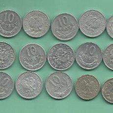 Monedas antiguas de Europa: POLONIA: 21 MONEDAS DE 10 GROSZY, 21O FECHAS DIFERENTES. Lote 143836878