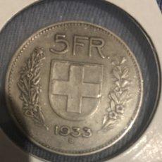 Monedas antiguas de Europa: MONEDA SUIZA PLATA CINCO FRANCOS 1933. Lote 144375557