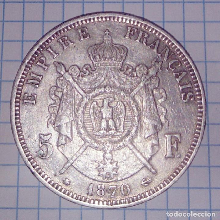 Monedas antiguas de Europa: FRANCIA. 5 FRANCOS 1870 A. PLATA. - Foto 2 - 145807270