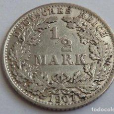 Monedas antiguas de Europa: MONEDA DE PLATA DE 1/2 MARCO DE ALEMANIA DE 1907, CECA A, BERLIN, 2 IMPERIO ALEMAN. Lote 146082266