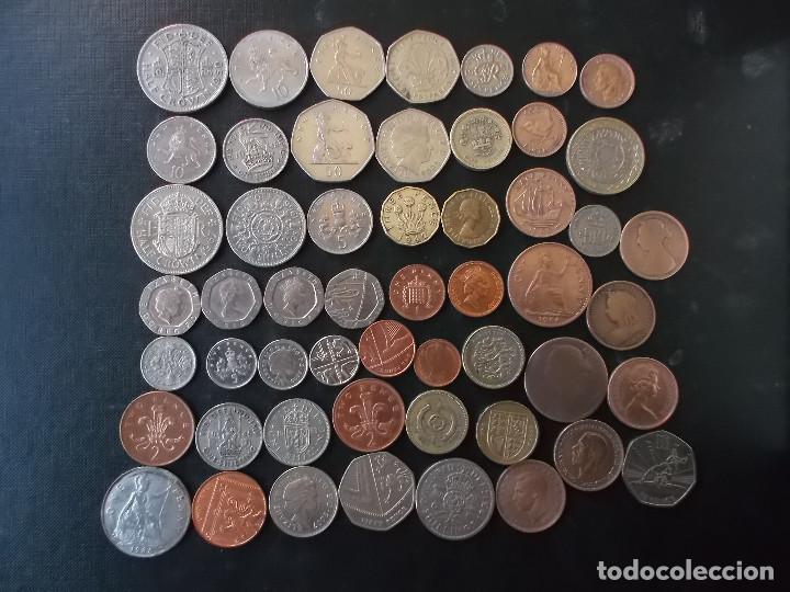 SUPERCOLECCION DE 53 MONEDAS DE INGLATERRA DIFERENTES Y EPOCAS (Numismática - Extranjeras - Europa)