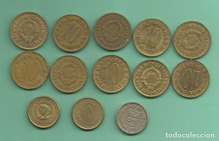 YUGOSLAVIA. 13 MONEDAS DE 10 PARAS, 13 FECHAS, 3 MODELOS (Numismática - Extranjeras - Europa)