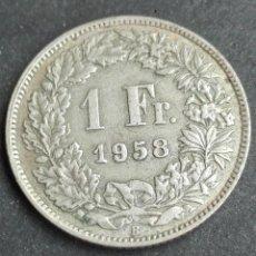 Monedas antiguas de Europa: MONEDA PLATA SUIZA 1 FRANCO AÑO 1958. Lote 147327002