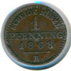 Monedas antiguas de Europa: ESTADOS ALEMANES - PRUSIA 1 PFENNIG 1868 - B ( MBC ) KM # 480 - WILHELM I - UN POCO ABOLLADA. Lote 147556054