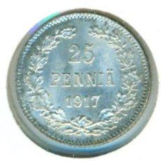 Monedas antiguas de Europa: FINLANDIA 25 PENNIA 1917 - S ( SC- ) KM # 6.2 - PLATA. Lote 147556162