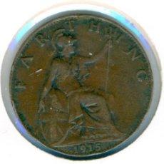 Monedas antiguas de Europa: GRAN BRETAÑA INGLATERRA FARTHING 1915 ( MBC ) KM # 808.1 - GEORGE V. Lote 147556478