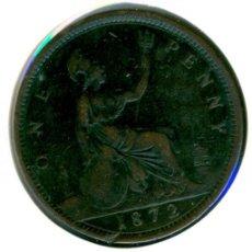 Monedas antiguas de Europa: GRAN BRETAÑA INGLATERRA ONE PENNY 1 PENIQUE 1872 ( MBC- ) KM # 749.2 - VICTORIA. Lote 147556518