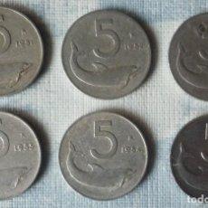 Monedas antiguas de Europa: LOTE DE 6 MONEDAS DE 5 LIRAS ITALIANAS. CON AÑOS DIFERENTES. Lote 147614762